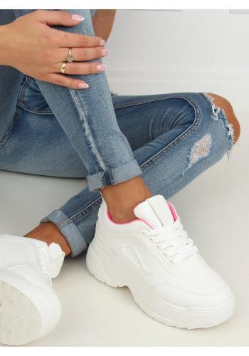 Dámské sportovní tenisky na vysoké podrážce v bílo-růžové barvě