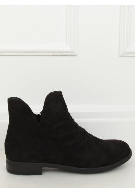 Dámské semišové boty s výřezem v černé barvě