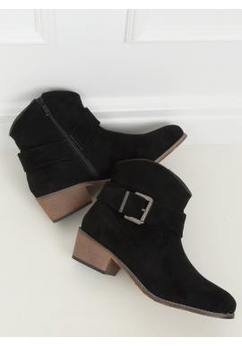 Černé semišové kovbojky s přezkou pro dámy