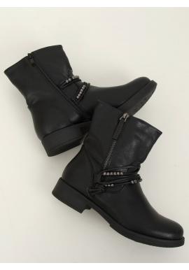 Dámské vojenské boty s aplikací v černé barvě