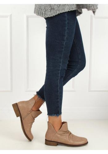 Béžové lícové boty s výřezem pro dámy