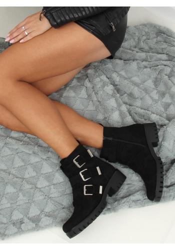 Dámské semišové boty s přezkami v černé barvě