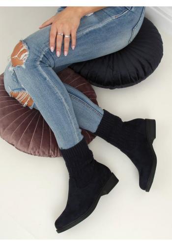 Tmavě modré semišové boty s elastickým svrškem pro dámy