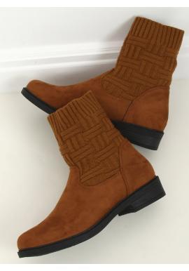 Dámské semišové boty s elastickým svrškem v hnědé barvě