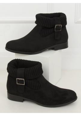 Černé semišové boty s ponožkovým svrškem pro dámy
