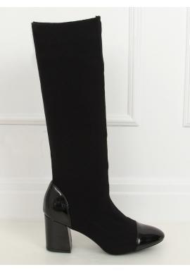 Černé vysoké kozačky se stabilním podpatkem pro dámy