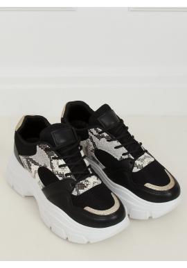 Dámské stylové tenisky na vysoké podrážce v černé barvě
