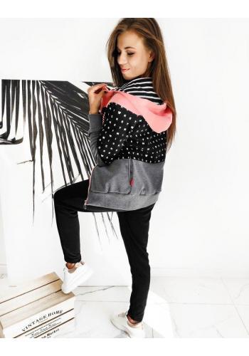 Dámská tepláková souprava s kapucí v černo-růžové barvě