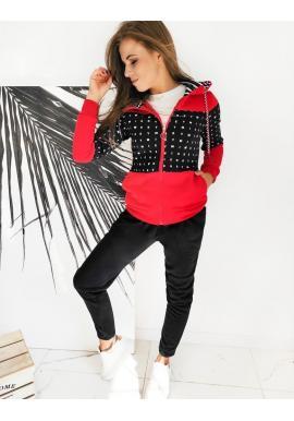 Tepláková dámská souprava červeno-černé barvy s kapucí