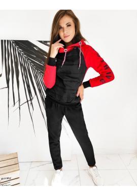 Tepláková dámská souprava červeno-černé barvy s potiskem