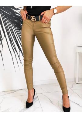 Hnědé voskované kalhoty s nižším pasem pro dámy