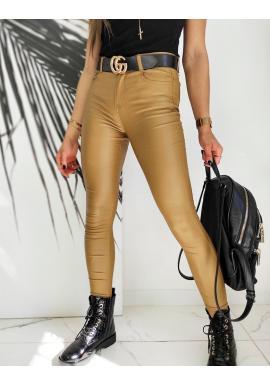Voskované dámské kalhoty hnědé barvy s vyšším pasem