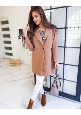 Klasický dámský kabát hnědé barvy