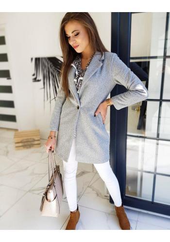 Světle šedý klasický kabát pro dámy