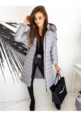 Dlouhá prošívaná bunda stříbrné barvy s kapucí