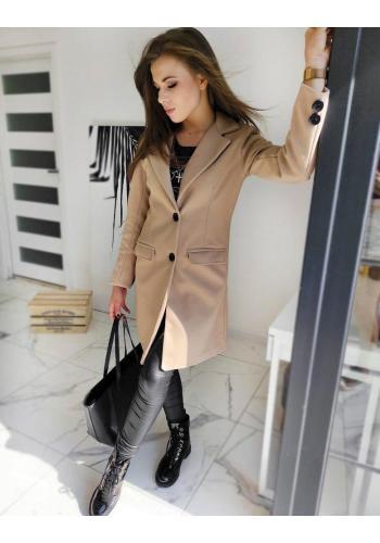 Dámský jednořadý kabát se dvěma knoflíky v béžové barvě