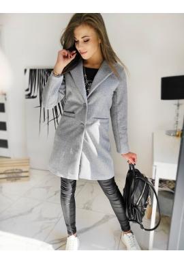 Jednořadý dámský kabát světle šedé barvy s dvěma knoflíky