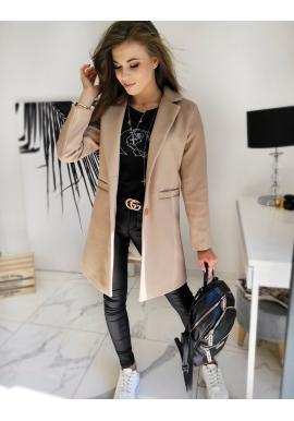 Béžový jednořadý kabát se dvěma knoflíky pro dámy