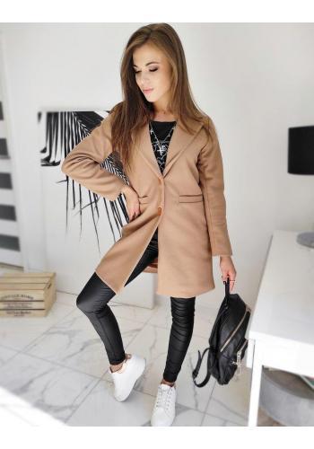 Dámské jednořadé kabáty se dvěma knoflíky v hnědé barvě