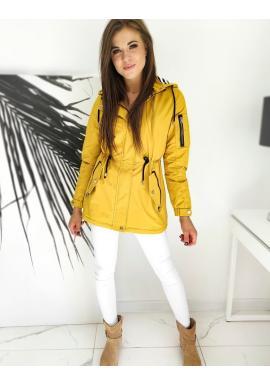 Přechodná dámská parka žluté barvy s kapucí