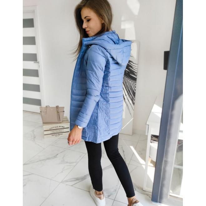 Dámská prošívaná bunda s kapucí v modré barvě