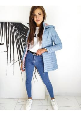 Prošívaná dámská bunda světle modré barvy s kapucí