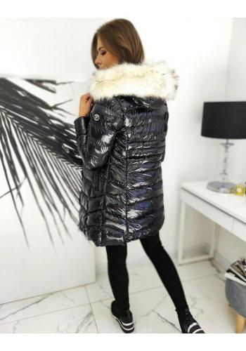 Prošívaná dámská bunda černé barvy s lesklým povrchem