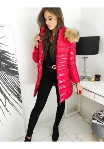 Dámská prošívaná bunda s lesklým povrchem v červené barvě