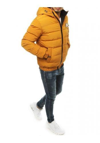 Pánské prošívané bundy na zimu ve žluté barvě