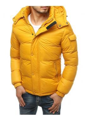 Pánská zimní bunda s prošíváním ve žluté barvě