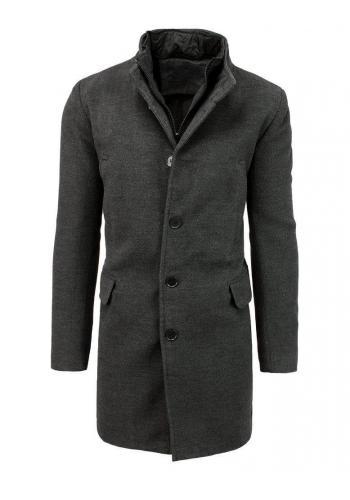 Pánský jednořadý kabát na zimu v tmavě šedé barvě