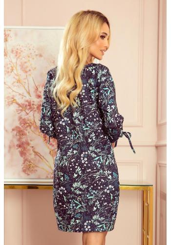 Oversize dámské šaty tmavě modré barvy s mátovými listy