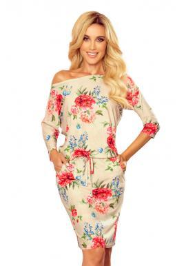 Béžové sportovní šaty s květovaným potiskem pro dámy
