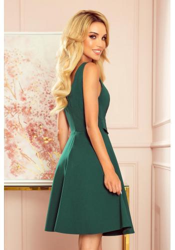 Zelené rozšířené šaty s volánem na výstřihu pro dámy