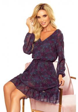 Dámské šifónové šaty se vzorem v růžovo-modré barvě