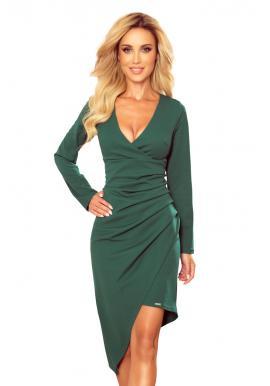 Asymetrické dámské šaty zelené barvy s výstřihem