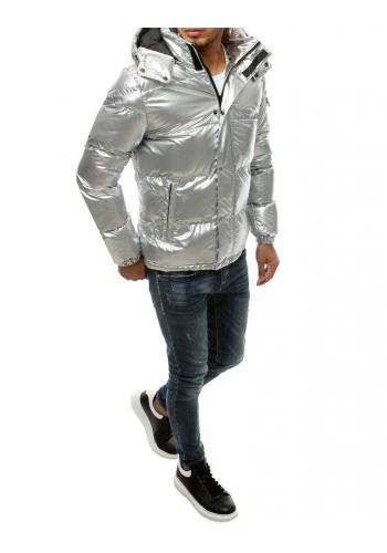 Zimní pánská bunda stříbrné barvy s prošíváním