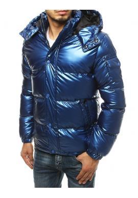 Pánská zimní bunda s prošíváním v modré barvě