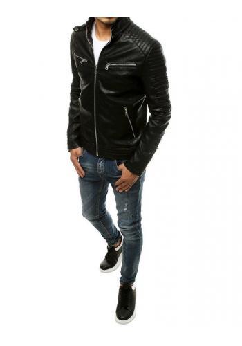 Pánská kožená bunda s prošíváním v černé barvě