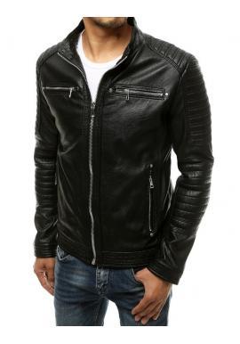 Černá kožená bunda s prošíváním pro pány