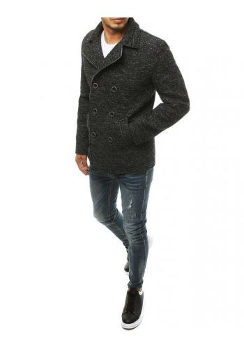 Dvouřadý pánský kabát černé barvy s melanžovým vzorem