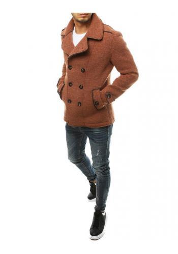Pánský dvouřadý kabát s ozdobnými knoflíky v cihlové barvě