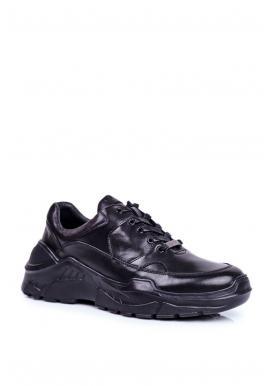 Černé kožené tenisky pro pány