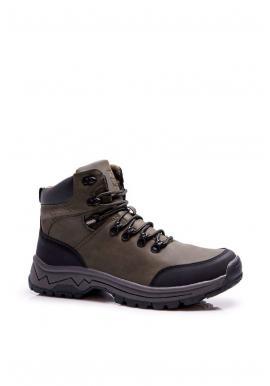 Pánská oteplená trekingová obuv v kaki barvě