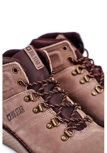 Pánské kožené trekingové boty Big Star v hnědé barvě