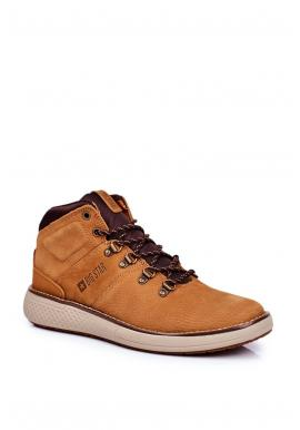 Světle hnědé kožené trekingové boty Big Star pro pány