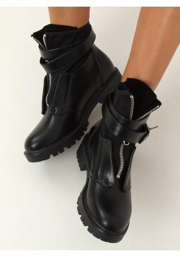 Dámské módní boty ve vojenském stylu v černé barvě
