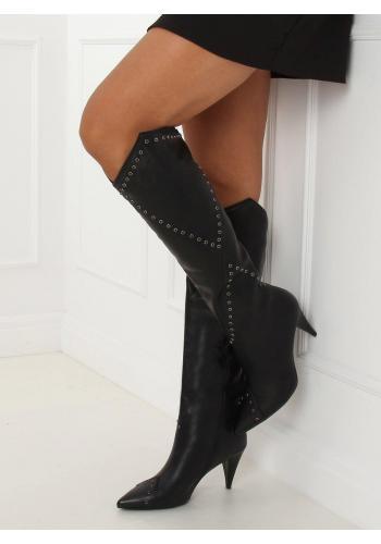Černé lícové kozačky na podpatku pro dámy