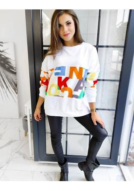 Bílá oversize mikina s barevným potiskem pro dámy