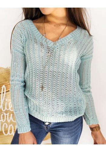 Mátový ažurový svetr s výstřihem ve tvaru V pro dámy